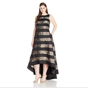 ADRIANNA PAPELL Black Lace Stripe Mikado HiLo Gown